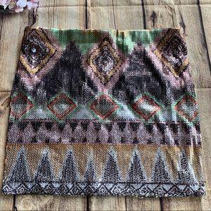 L8ter sequin skirt multicolor Aztec design size M